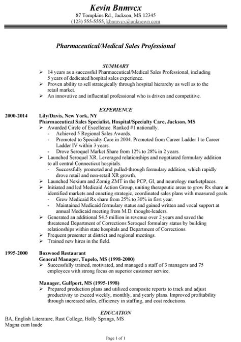 resume for pharmaceutical medical sales susan ireland