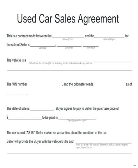 used car contract relevant quintessence sales with
