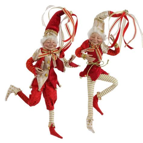 raz christmas elf 11 inch red and gold set of 2 posable