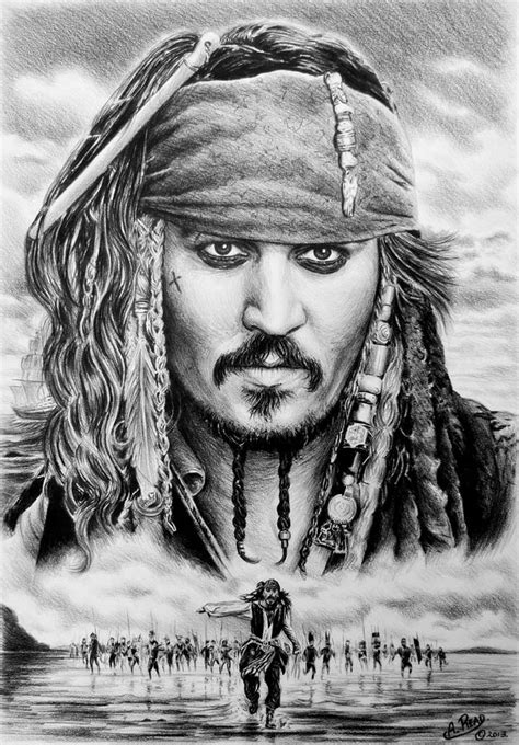 Captain Jack Sparrow 2 Drawing by Andrew Read