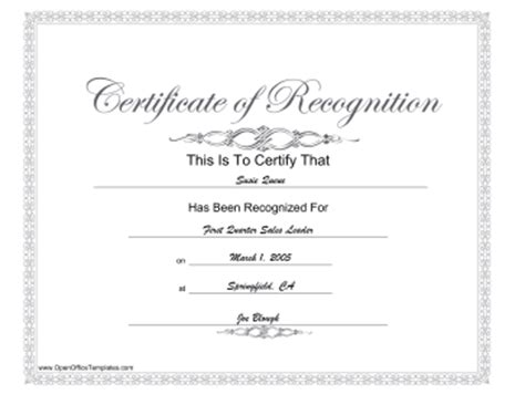 open office certificate templates recognition award openoffice template