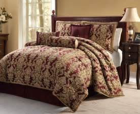 luxury 7pc bedding comforter set sussex burgundy gold