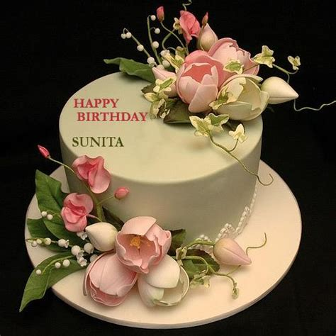 download mp3 happy birthday sunita write your name on flower decorated cake with namepic