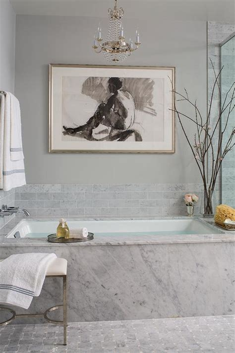 spa art for bathroom marble clad bathtub with paris flea market chandelier