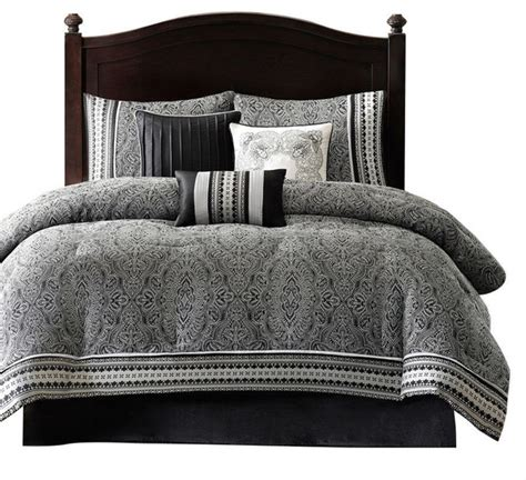 california king size 7 piece comforter set black white