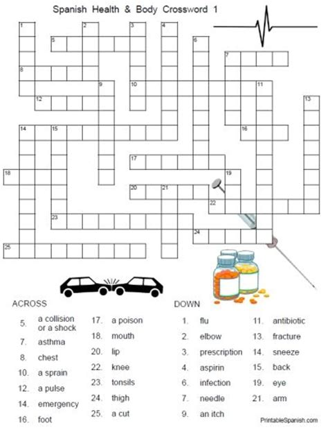 free printable worksheets health crossword printable puzzles and health on pinterest