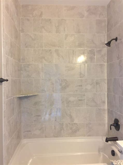 marble falls white water 10x14 tiles installed