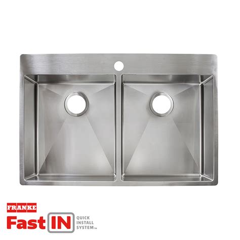 commercial drop in sink shop franke fast in 33 5 in x 22 5 in double basin