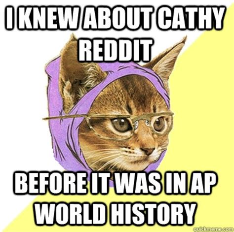 Ap World History Memes - i knew about cathy reddit before it was in ap world history hipster kitty quickmeme