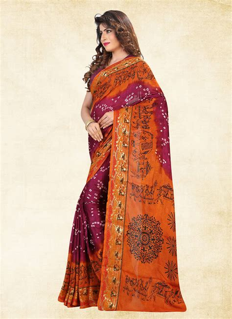 khantil orange printed cotton v buy orange printed cotton silk saree with blouse