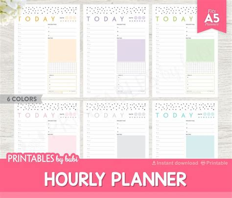 printable hourly planner printable hourly planner a5 planner inserts hourly