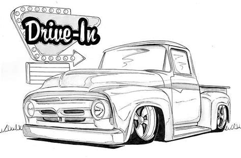 lowrider truck coloring page 1956 ford mixed media vehicle line drawings pinterest