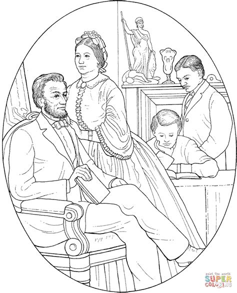 abraham and mary todd lincoln coloring page free