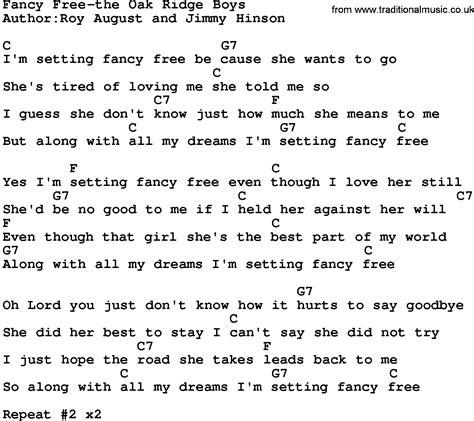 printable country lyrics country music fancy free the oak ridge boys lyrics and chords