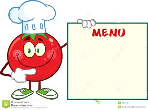 Smiling Tomato Chef Cartoon Mascot Character Pointing To