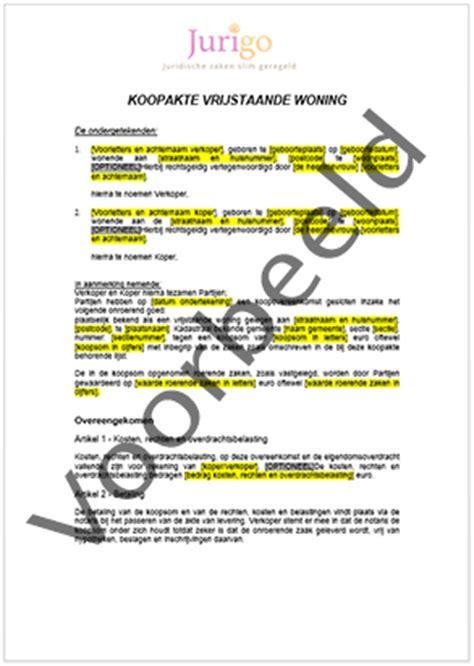 koopcontract woning vrijstaande woning ver kopen akte downloaden