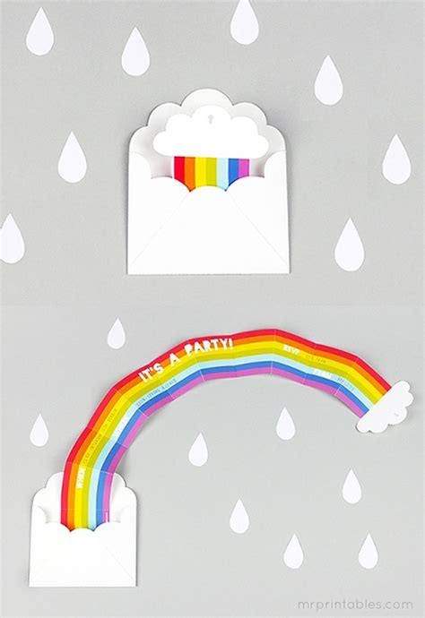 printable birthday cards rainbow surprise rainbow party invitation mr printables