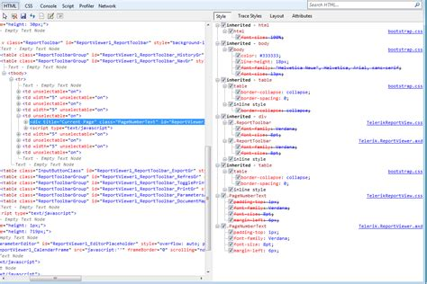 div tag css css issue with page controls in report viewer toolbar