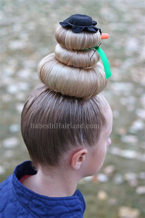 snowman hairstyle for hair day or