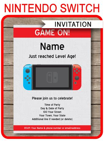 nintendo switch party invitations template video game