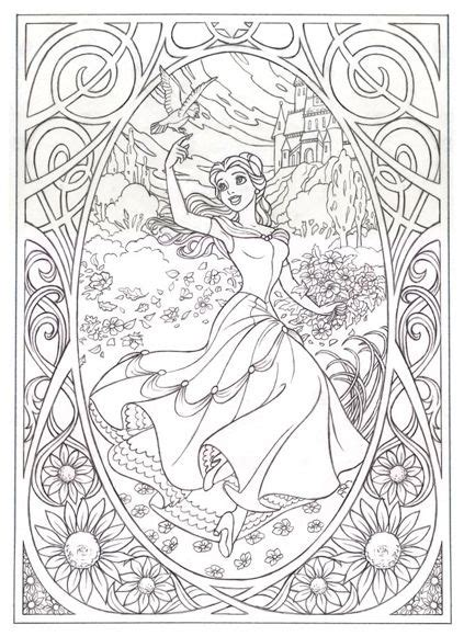 Belle Art Nouveau Free Coloring Page Printable Pinterest Princess Coloring Pages For Adults Printable