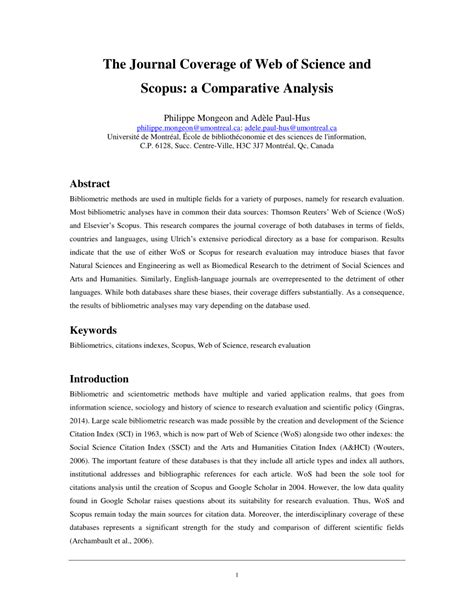 (PDF) The Journal Coverage of Web of Science and Scopus: a