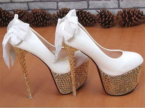 rhinestone bowknot lace platform wedding shoes weddings