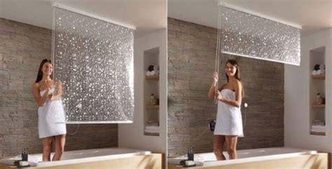 pull down ceiling mounted shower curtains ishower curtain craziest gadgets