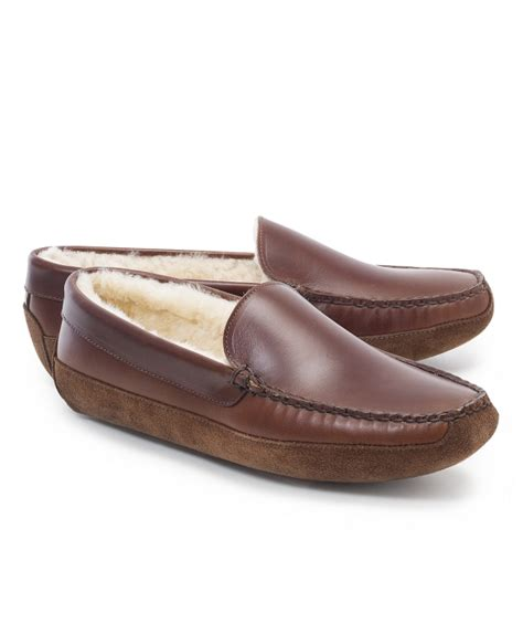 shearling house shoes men s calfskin and shearling slippers brooks brothers