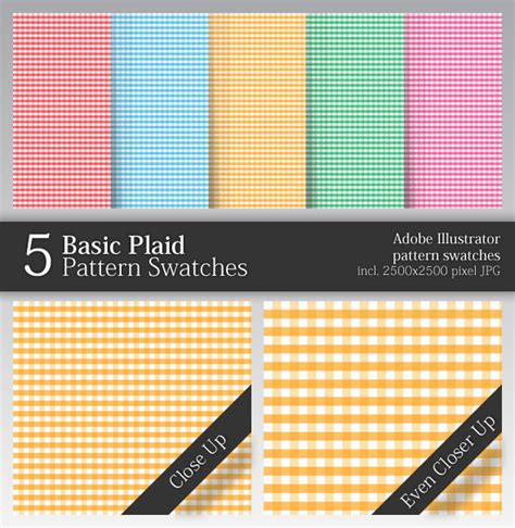 pattern swatch library 5 basic plaid pattern swatches by zenimot graphicriver