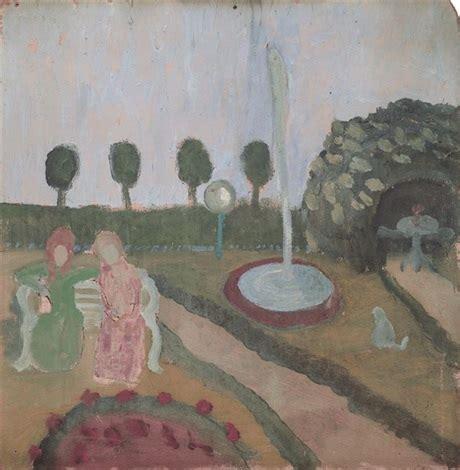 donne in giardino due donne in giardino con fontana arte