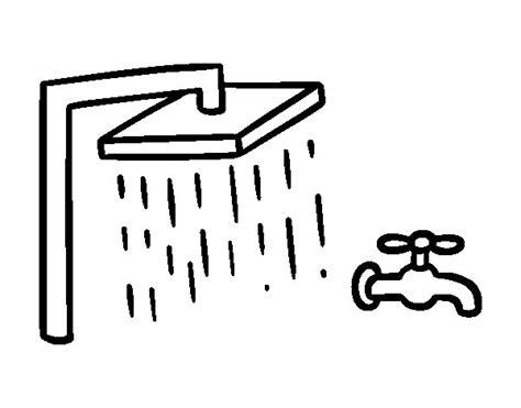 disegno di un bagno disegno di doccia e rubinetto di bagno da colorare