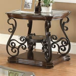 Parson Dining Room Chairs angus metal scroll and wood end table 702447 seaboard