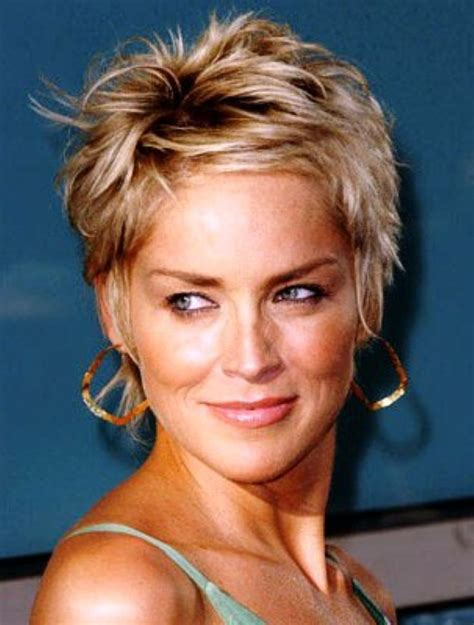 sharon stone short hair on round face sharon stone short hair pics great haircuts highlights