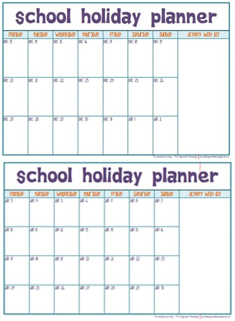 printable school holiday planner end of year christmas school holidays planner the