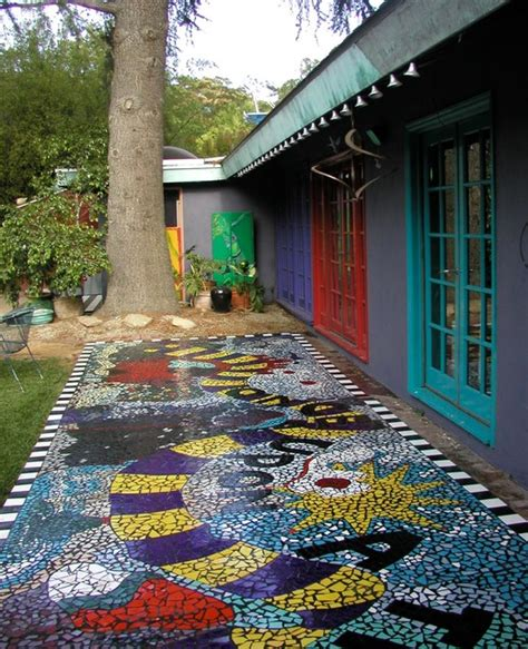 Buddha Decor For The Home mosaic tile backyard patio