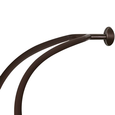 Shop allen roth 72 in oil rubbed bronze curved adjustable double shower curtain rod at lowes com