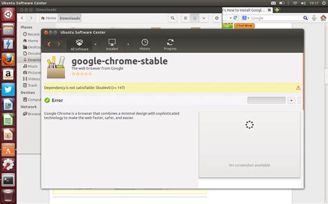 chrome error software center error when trying to install google
