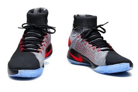 Sepatu Basket Hyperdunk2016 Elite Black Grey nike hyperdunk 2016 elite flyknit black hyper crimson charcoal grey