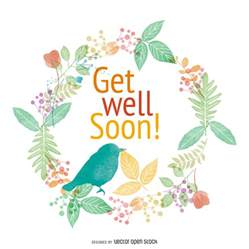 watercolor get well soon card vector