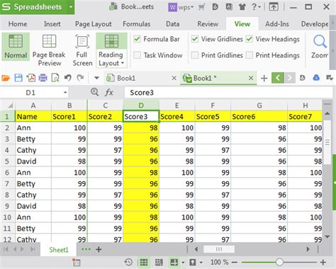 reading layout excel how to use reading layout feature in wps spreadsheets