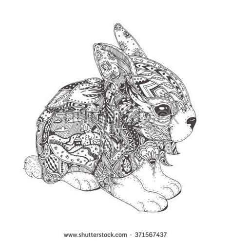 coloring pages for adults bunny animal zentangle coloring page stock photos images
