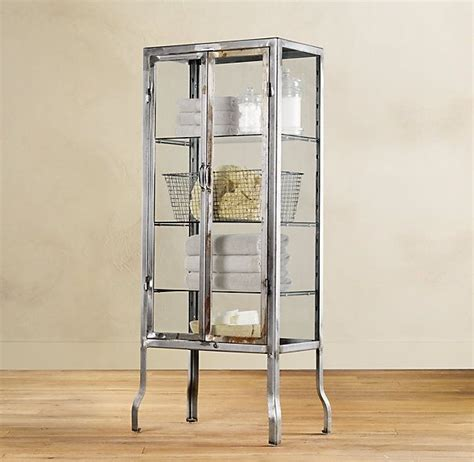 restoration hardware bathroom storage pharmacy large bath cabinet burnished steel products i