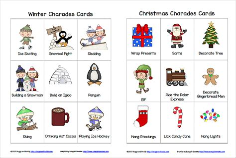 free printable winter board games winter and christmas charades free printable game for kids