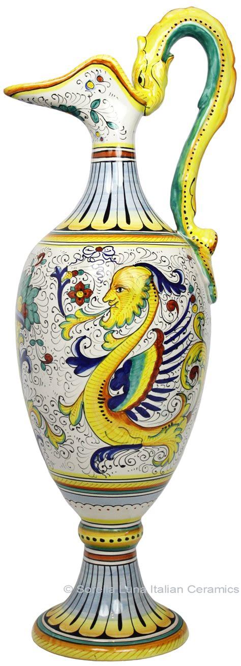 Red Ceramic Vase Ceramic Majolica Anfora Pitcher Raffaellesco