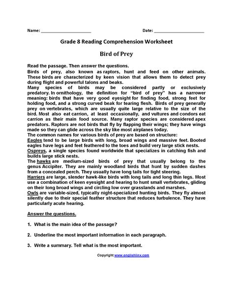 8th Grade Reading Worksheets by Reading Worksheets Eighth Grade Reading Worksheets