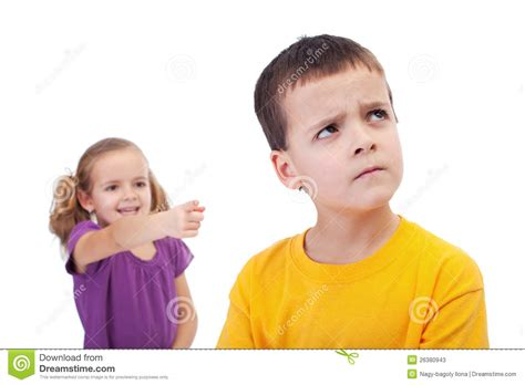A Mocking bullying concept mocking boy stock image