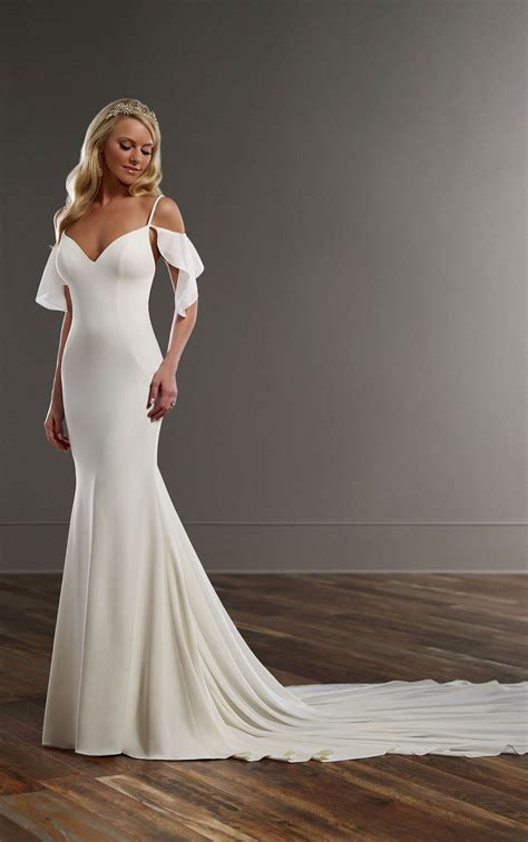 shoulder sheath wedding dress martina liana
