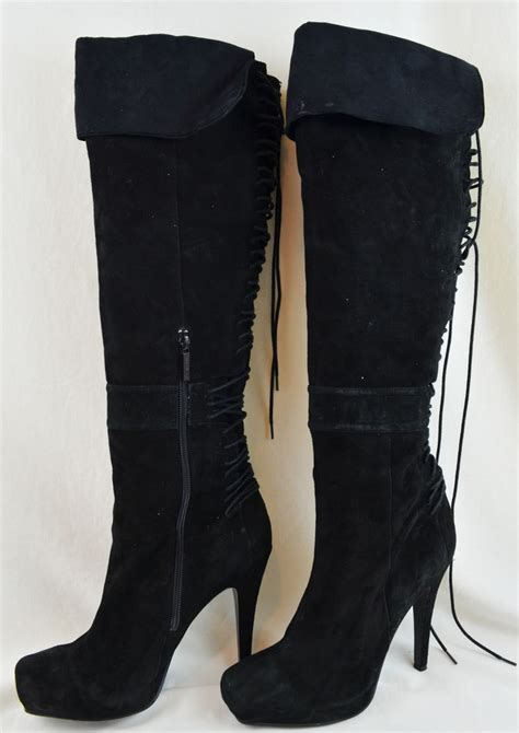 nine west s black suede leather knee high boots