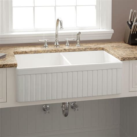 white kitchen sinks 33 quot baldwin double bowl fireclay farmhouse sink fluted